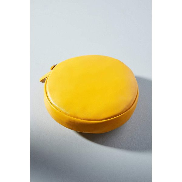 Clare V. Circle Clutch ($188) ❤ liked on Polyvore featuring bags, handbags, clutches, yellow motif, clare v handbags, circle handbags, yellow clutches, clare v clutches and circular handbag