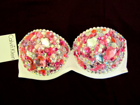 "Gorgeous ""PINK CRYSTAL"" Barbie Sexy Rave Bra Costume Burlesque Sequin Rhinestone Bling Bra"