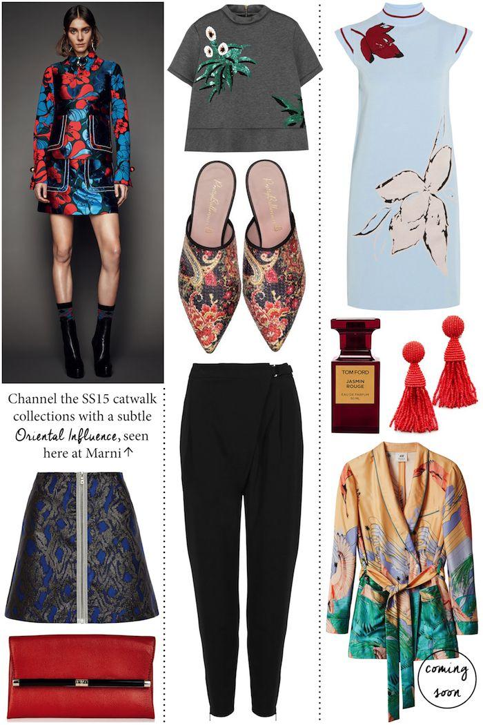 Spring 2015 Oriental Trend- H&M kimono and Oscar de la Renta earrings especially