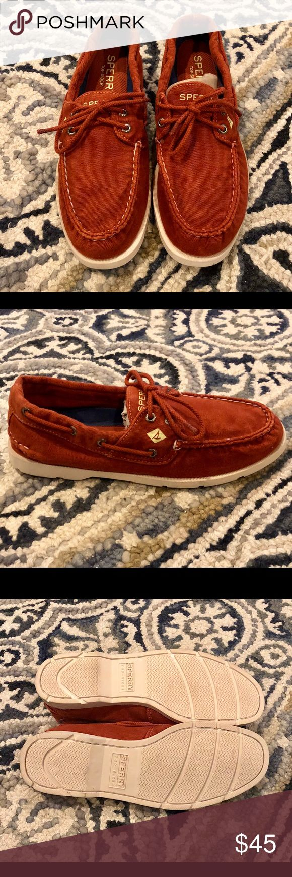 SPERRY leeward canvas boat shoes NEW Brand new Sperry leeward canvas boat shoes! Redish - orange color. Size 10.5 Mens   Feel free to ask any questions! Sperry Shoes Boat Shoes