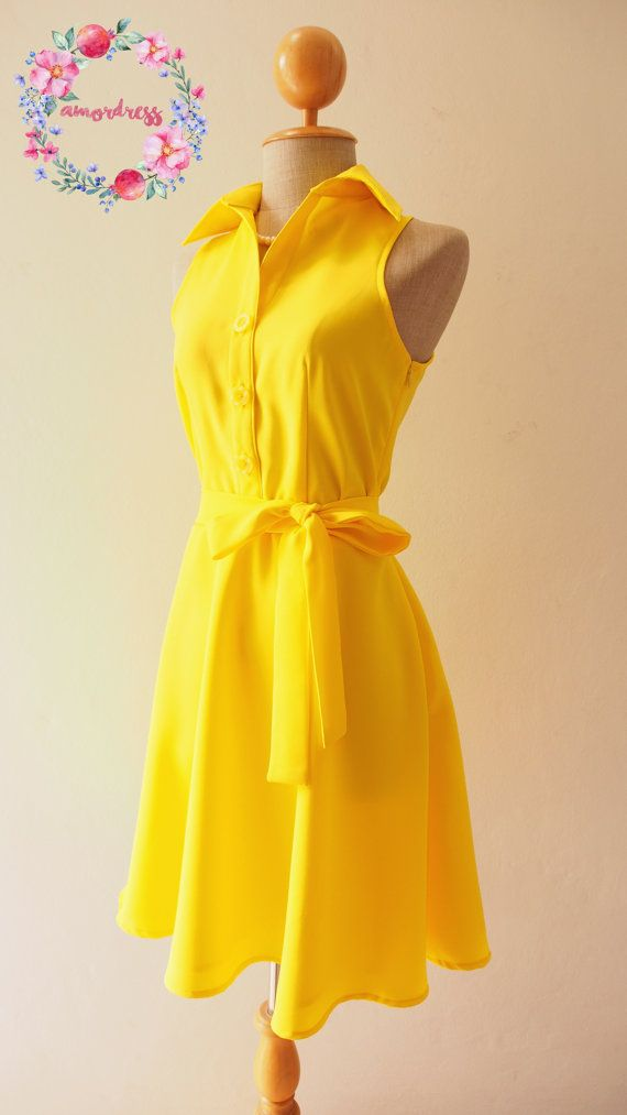 DOWNTOWN Yellow Shirt Dress Yellow Bridesmaid Dress by Amordress