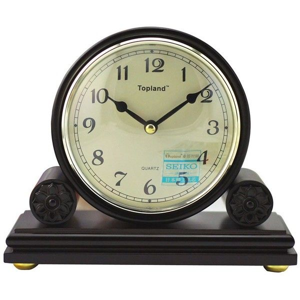 LNC Vintage Decor Wood 5-Inch Table Clock Dark Brown Japan Seiko... ❤ liked on Polyvore featuring home, home decor, clocks, seiko clocks, dial clocks, battery powered clock, vintage mantel clock and wood desk clock