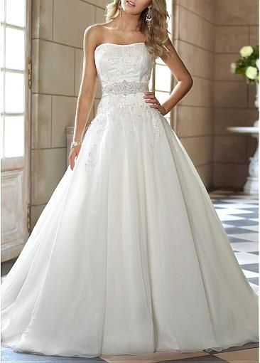 Charming Satin & Organza Satin Ball Gown Strapless Neckline Natural Waist 2013 Wedding Dress With Beaded Lace Appliques