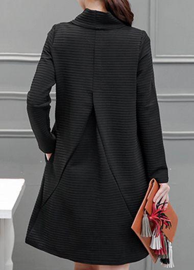 Black Long Sleeve High Neck Pocket Design Dress | lulugal.com - USD $29.69