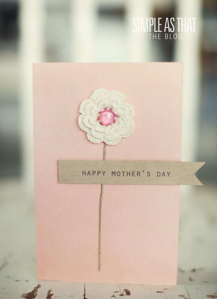 Handmade cards - Mother's Day - Birthday>>crocheted flower