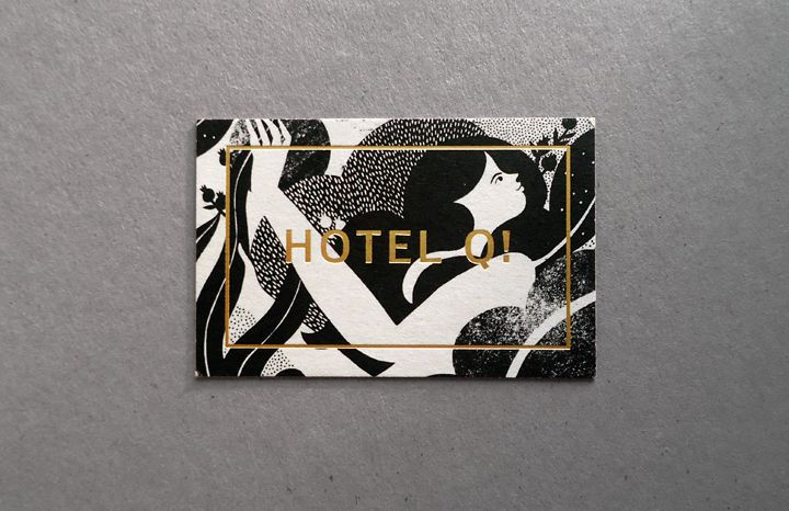 Hotel Q! Illustrated and gold foiled business card designed by Karolin Schnoor.