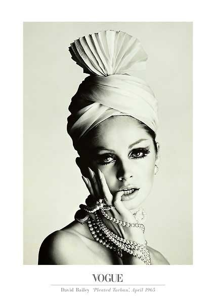 Pleated Turban and Pearls . David Bailey . Vintage Vogue .