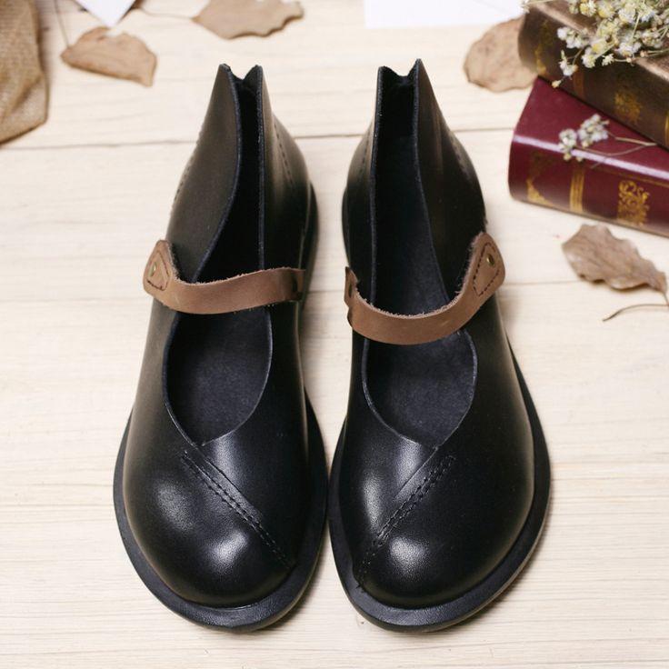 Женщины Неподдельной Кожи Плоские Туфли Винтаж Черный/Коричневый Обнаженная Дизайнер Оксфорд Обувь Flatfeet Hook & Loop Квартиры Мори Девушка дизайн (7888)