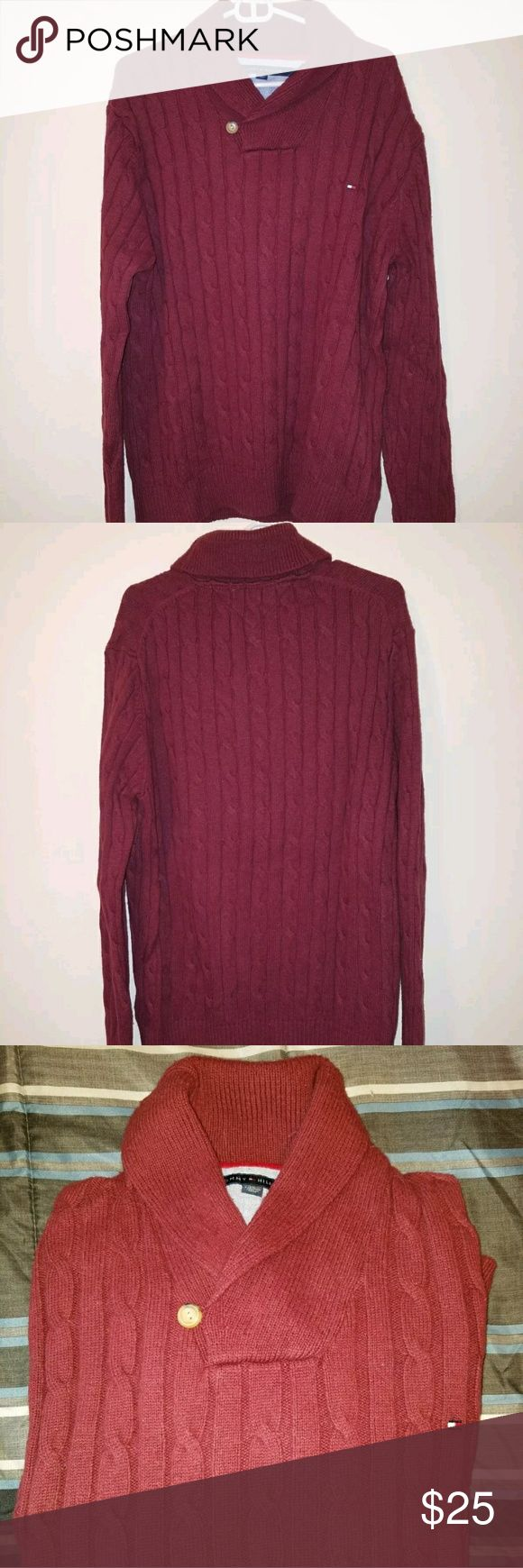 """🔥OVERNIGHT SALE 🔥Tommy Hilfiger Cable Knit Men's Tommy Hilfiger Cable Knit Shawl Collar Sweater Burgandy Size XXL  Armpit to Armpit: 24""""  Shoulders: 19.5  Top to Bottom: 32""""  Sweater is in excellent condition!  See pictures for best description!  Thanks for looking! Message me with any questions! Tommy Hilfiger Sweaters V-Neck"""