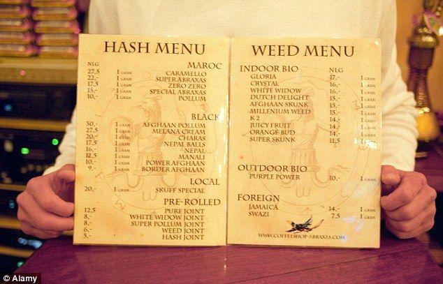 Legal high: A marijuana menu in a coffee shop in Amsterdam