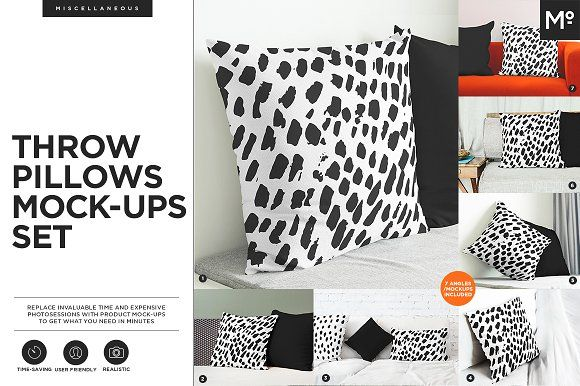 Throw Pillows Mock-ups Set by Mocca2Go/mesmeriseme on @creativemarket