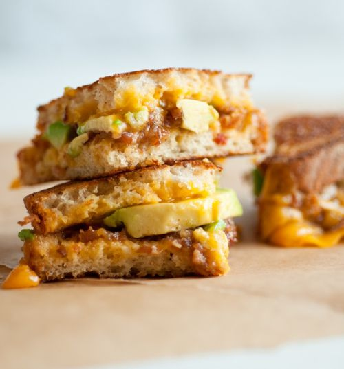 Grilled cheese, with bacon jam & avocado. Mmmm.
