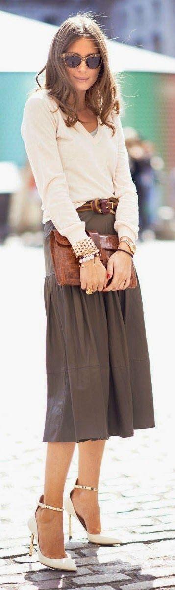 Olivia Palermo in Midi Skirt