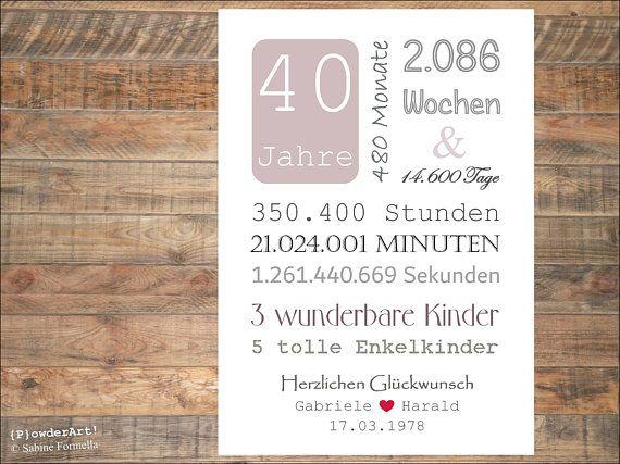 Bild Zum 40 Hochzeitstag 14 600tage Personalisiert Geschenk Zum Jahrestag Personalized Anniversary Gifts Personalized Anniversary Anniversary Gifts
