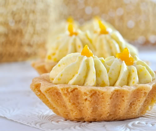 Apricot Zabaione and Almond Shortbread Tartlets