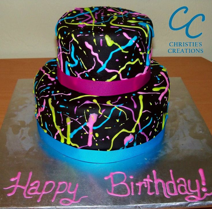 80 39 s neon birthday cake by christie 39 s creations facebook for 80s cake decoration ideas