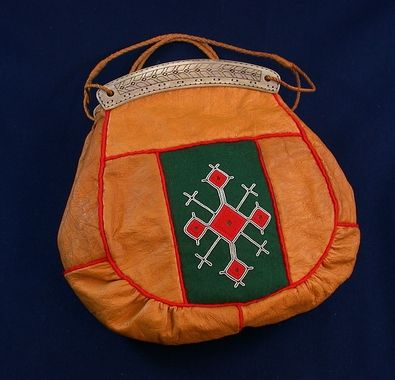 Sami bag, reindeer leather and tin embroidery. Finnmark, Norway
