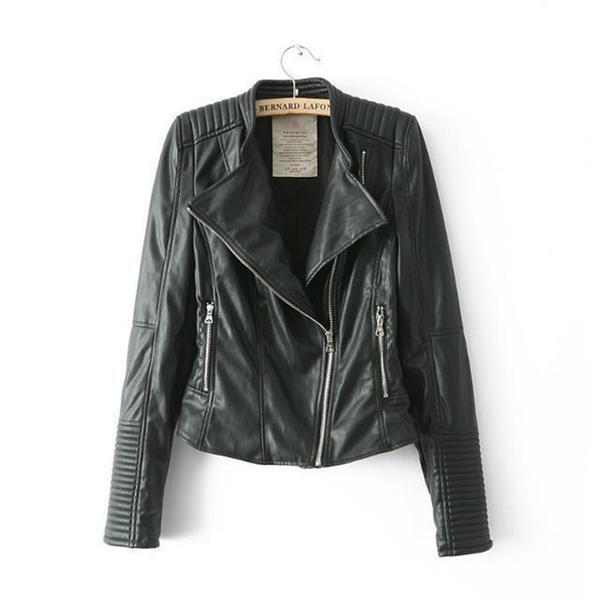 Black Bomber Motorcycle Leather Jackets Women Brand Zipper jaqueta couro HW169D4B #sheerbliss #bestoftheday  #leatherjacket #leather #handemade #leathercraft #fashion
