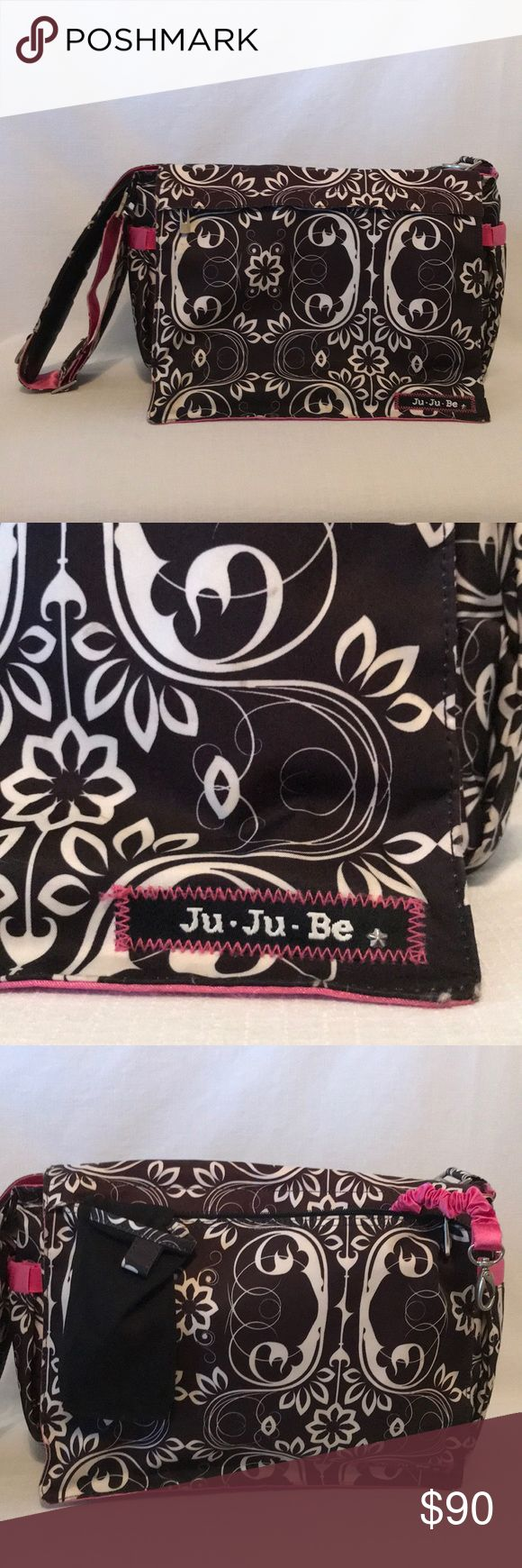 ✨Ju-Ju-Be All Diaper Bag Shadow Waltz✨ This is a great diaper bag with lots of extra pockets, clips, etc.. See photos!! All of the hardware is metal & is well made and heavy duty but very pretty and stylish. The messenger strap is adjustable in length, has memory foam shoulder pad, and 3 separate metal rings to clip things on. Teflon treated outer fabric and AglON protected linings, easy clean up and antimicrobial Mommy pocket on front flap is AMAZING!  Does not include a changing pad…