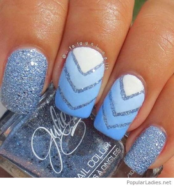 White to blue gel nails with glitter