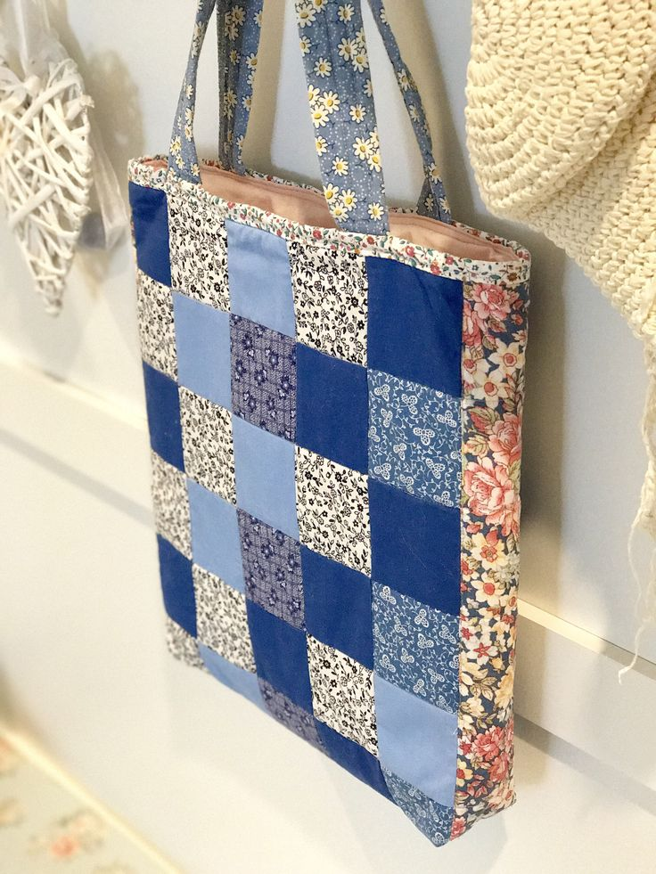 A personal favourite from my Etsy shop https://www.etsy.com/au/listing/541406622/patchwork-tote-market-tote-blue-white