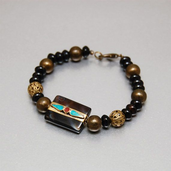 PERGAMON  Bracelet in deep brown and gold black agate