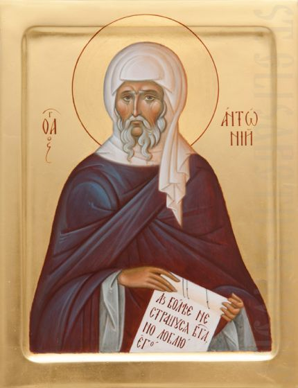 Icon of st Anthony the Great (design 2), catalog of St Elisabeth Convent. #icon #iconography #orthodoxicon #orthodoxiconography #paintedicon #iconsinoklads #mountedicons #buyicon #ordericon #handpainted #lacqueredicon #iconpainters #iconographers