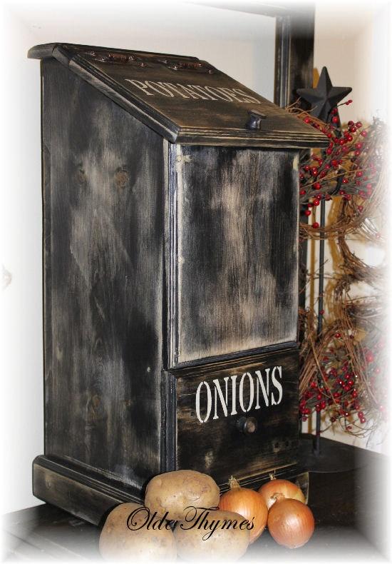 Primitive Potato Onion Bin by OldeThymesHomeDecor on Etsy, $95.00