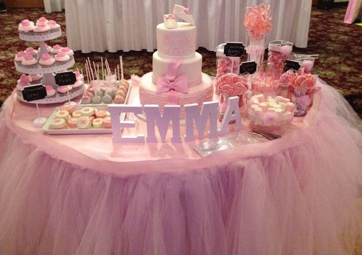 tutu table skirt, ruffle skirt, tulle skirt, baby shower, birthday decor, wedding by BaileyHadaParty on Etsy