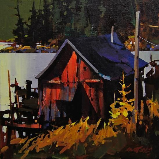 "Red Shack by Michael O'Toole Acrylic ~ 12"" x 12"""