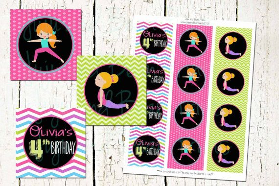 CUSTOM Yoga Party Circles-Yoga Party Cupcake by JujuandBeanPrints