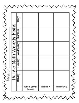 Daily 5 Math Planning Sheet FREEBIE -Mary Weeks we should try using this!