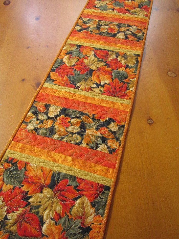 Quilted Table Runner with Leaves by patchworkmountain.com More