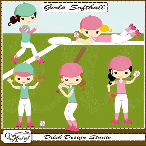 Cute Dilek Girls Softball clipart perfect for your craft project, scrapbooking, invitation, web design, paper product, design card and everything else.  Great for cute announcements web store fronts, blog design or simple enough for embroidery