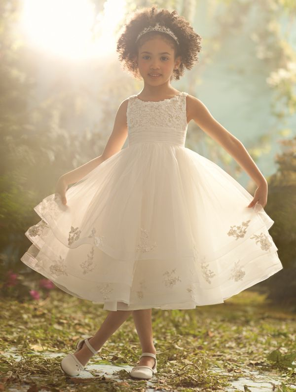 Disney Blossoms Style 704: tea length flower girl dress with metallic re-embroidered lace bodice, tulle skirt with horsehair and lace trim