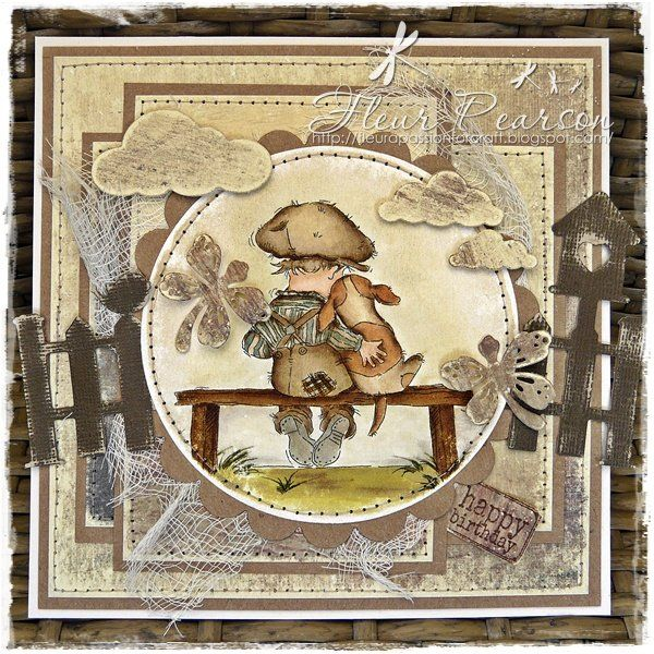 handcrafted greeting card ... Vintage boy and his dog .. grunge look ... sanded Core'dinations die cut fences ... browns ... image on a die cut circle with faux stitching around the edge ... fun card ... Lily of the Valley stamps