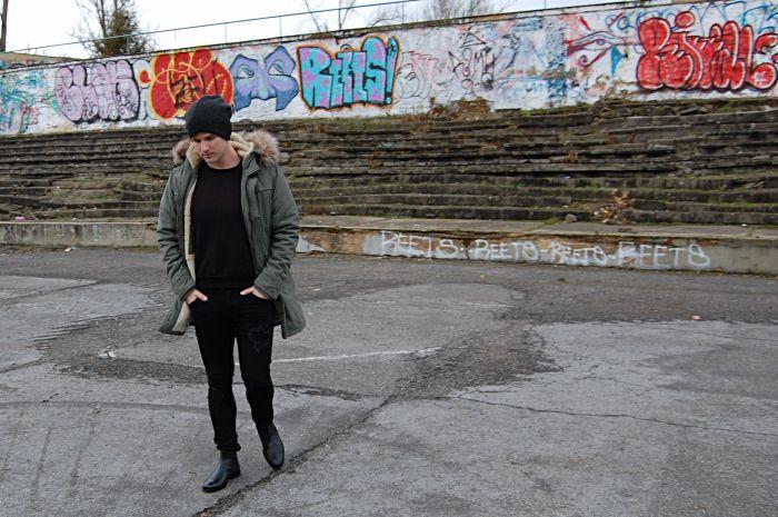street style, prague, grafitti, parka, chelsea boots