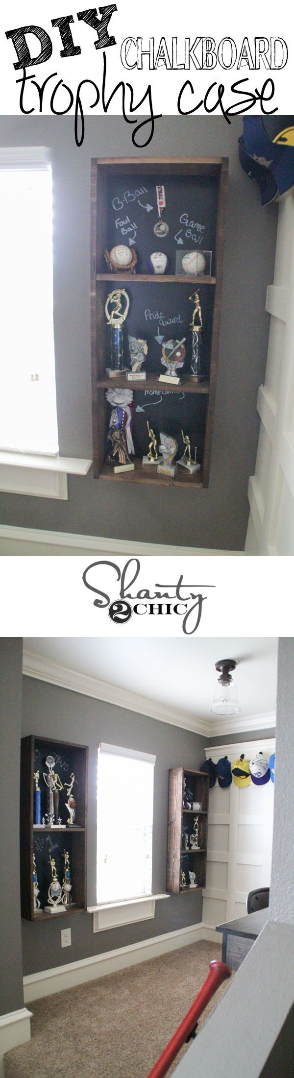 DIY trophy case with a chalkboard back! You can write messages or makes notes for each trophy. My boys LOVE this!