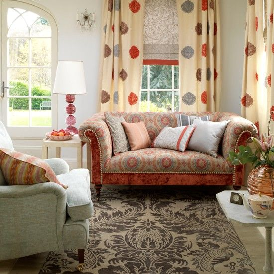 I LOVE this Bohemian living room: Decor, Curtains, Color, Livingroom, Bohemian Living Rooms, Cottage Living Rooms, Country Living Rooms, Design, Room Styles