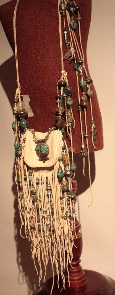 showdiva designs RoCk n RoLL Leather Medicine Bag Purse Belt Fringe with Sterling n Turquoise Beading. $2,550.00, via Etsy.