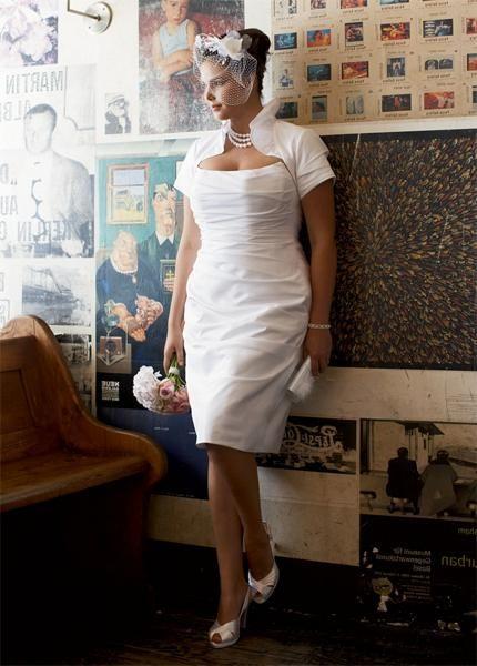 Bridal Shop 2011 Satin Sheath/ Column Tea length Pleated Chubby Style With Short Sleeves Plus Size Wedding Dress