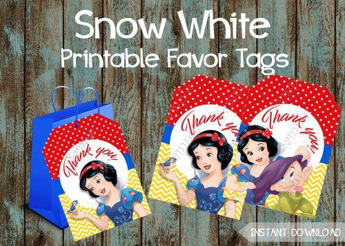 Snow White Birthday party package,  Snow White Party Supplies, Snow White favor tags