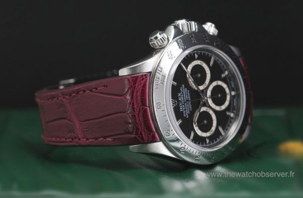 Rolex Daytona acier sur bracelet alligator bordeaux Radium Concept - prix, photo