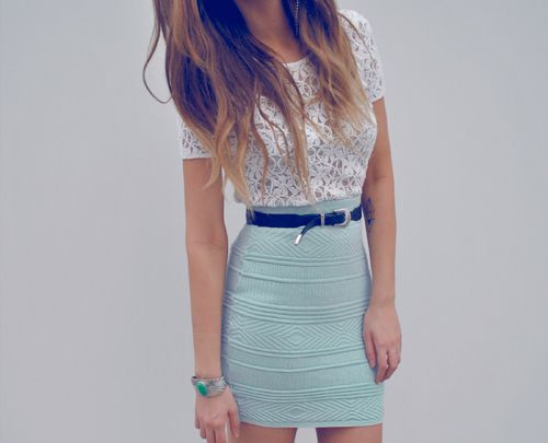 aqua + white lace: Baby Blue, Lace Tops, High Waist, Color, Cute Outfits, Blue Skirts, Than, Pencil Skirts, Lace Shirts