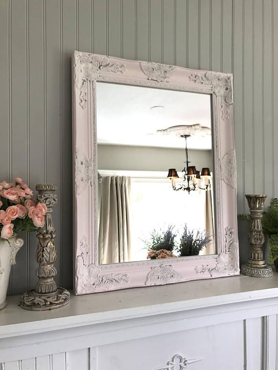 Bathroom Mirror Shabby Cottage Chic Pink Mirror Extra Large Nursery Mirror Baroque Mirror Ornate Wall Mirror  Custom Colors Available