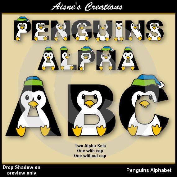 Penguin AlphabetLetters Clip Art