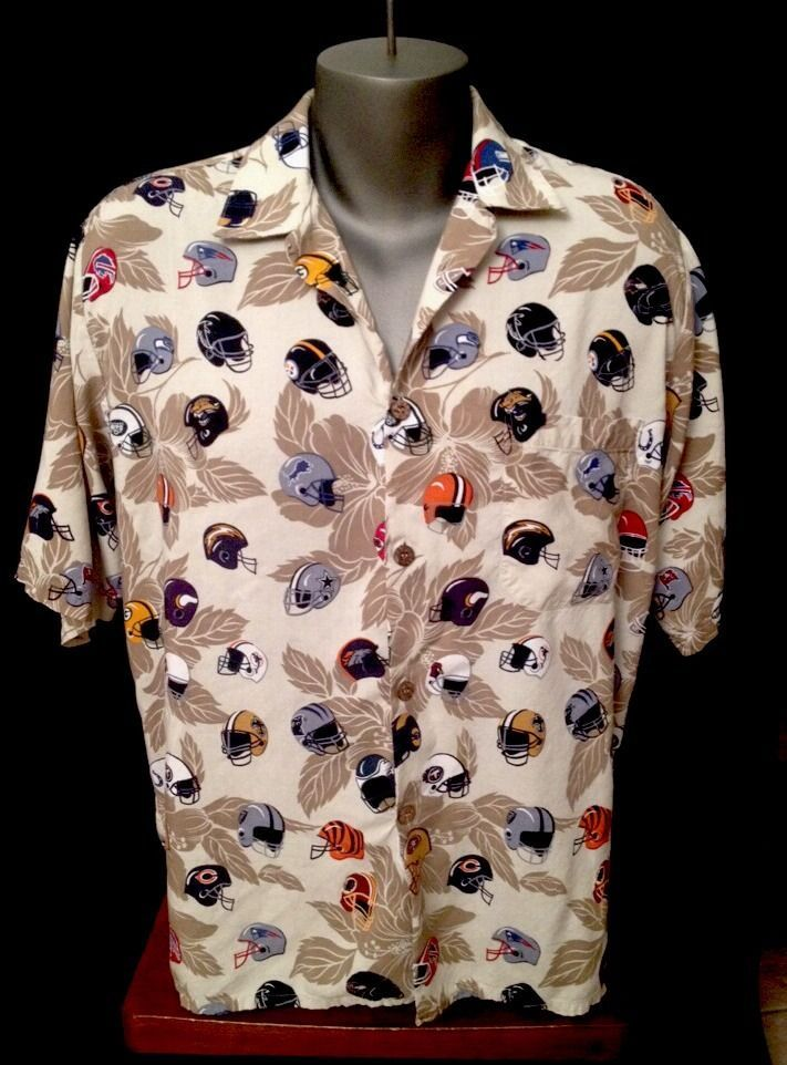 NFL Sun & Turf HAWAIIAN Shirt NFC AFC Football Helmets Cowboys Redskins Large