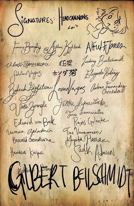 This is awesome! Hetalia Headcanon Signatures - And is Gilbert channeling John Hancock or something? Just...just look at that!