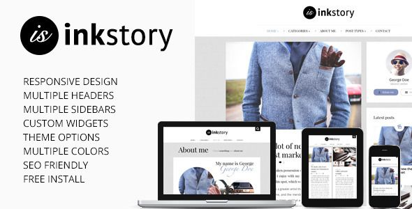InkStory is a Personal, News, Blog Wordpress Theme with many features: easy to use Post/Page composer (Visual Composer with our custom shortcodes), on-click Theme Options, responsive design, mu...