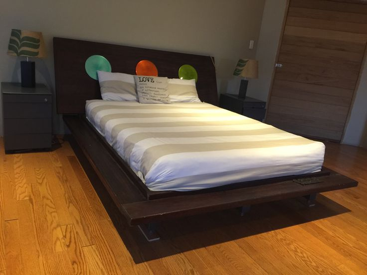 HEADBOARD AND BED - MADE FROM USING DOOR FRAMES AND A DOOR WITH A STEEL STRUCTURE
